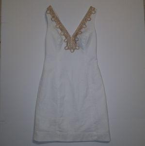 Lily Pulitzer White mini dress with gold neckline